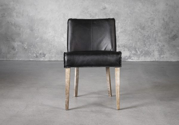 Jonny Dining Chair in Black Leather, Front