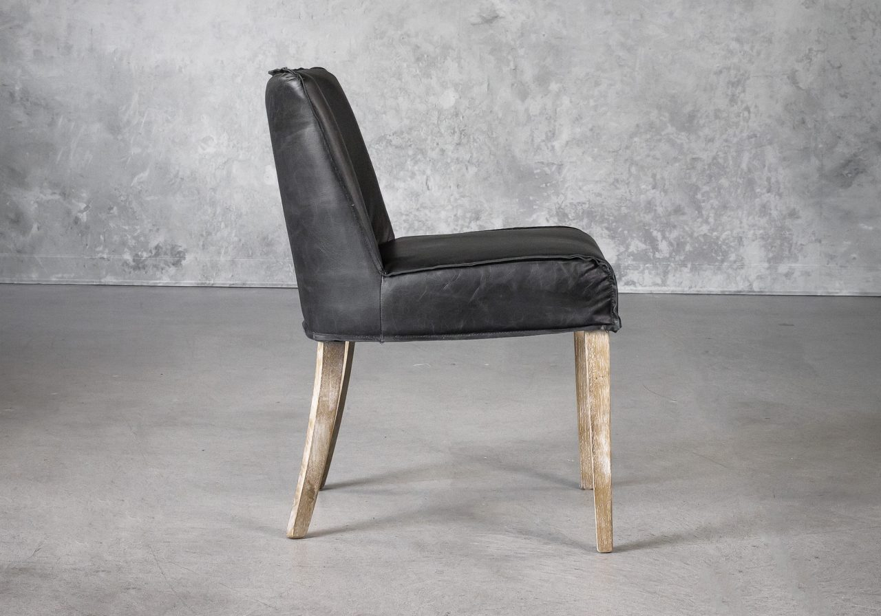 Jonny Dining Chair in Black Leather, Side