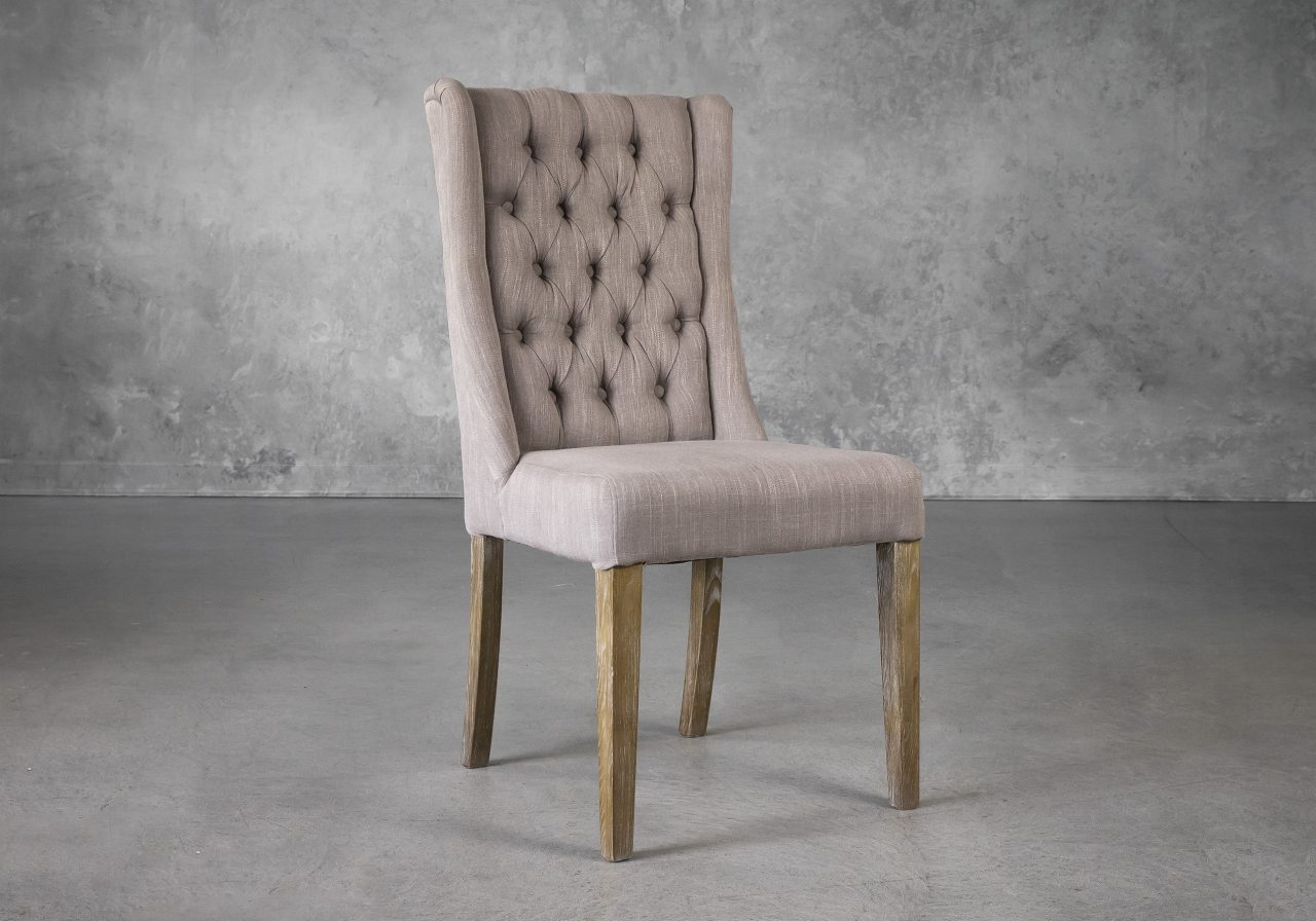 Kate Dining Chair in Beige Fabric, Angle