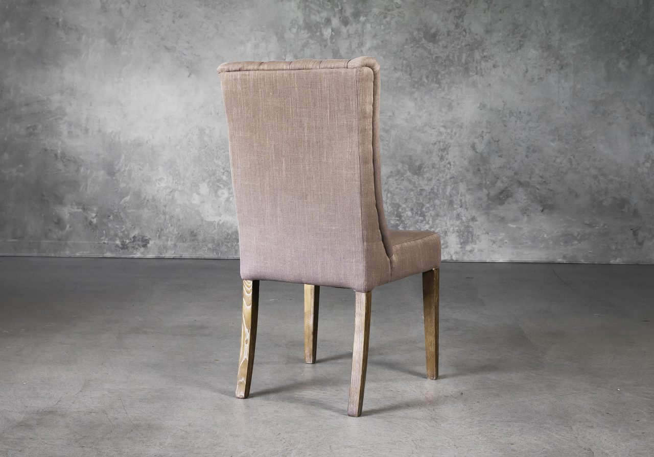 Kate Dining Chair in Beige Fabric, Back