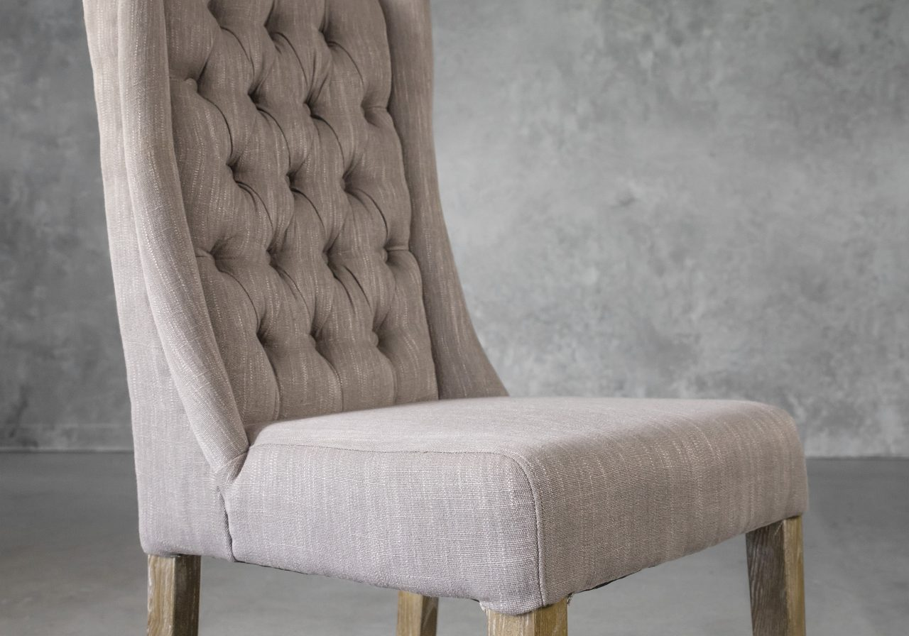 Kate Dining Chair in Beige Fabric, Close Up