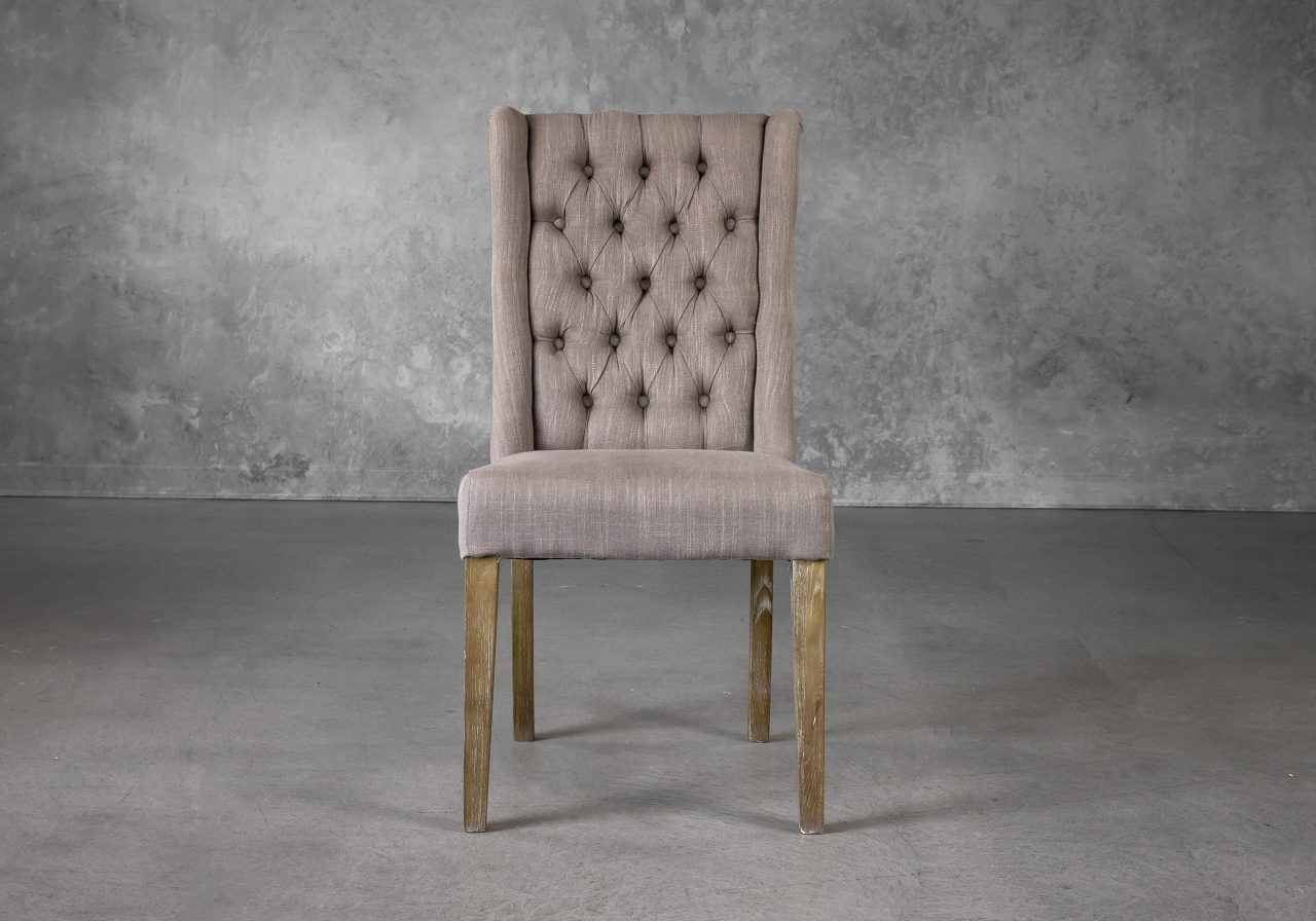 Kate Dining Chair in Beige Fabric, Front