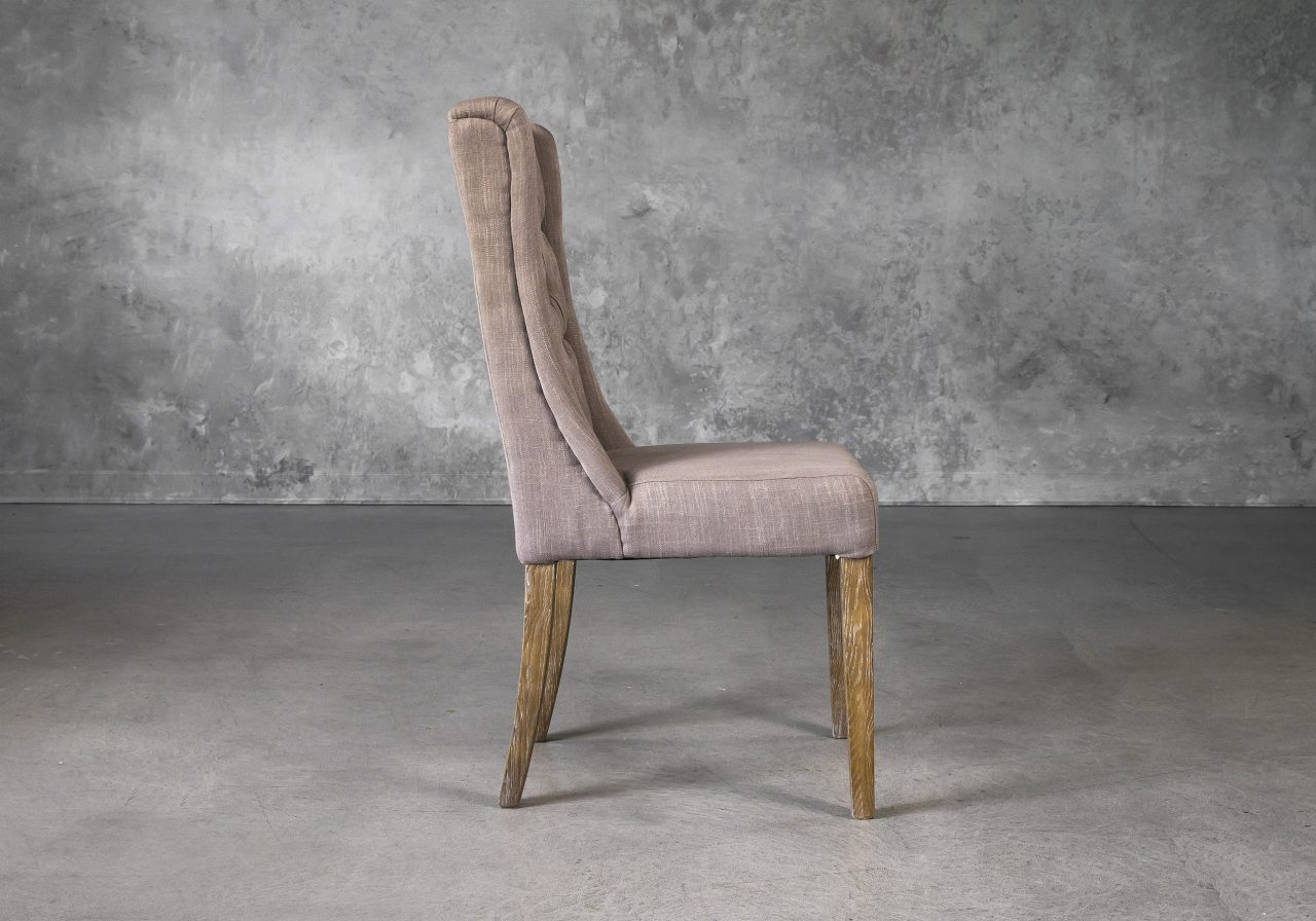 Kate Dining Chair in Beige Fabric, Side