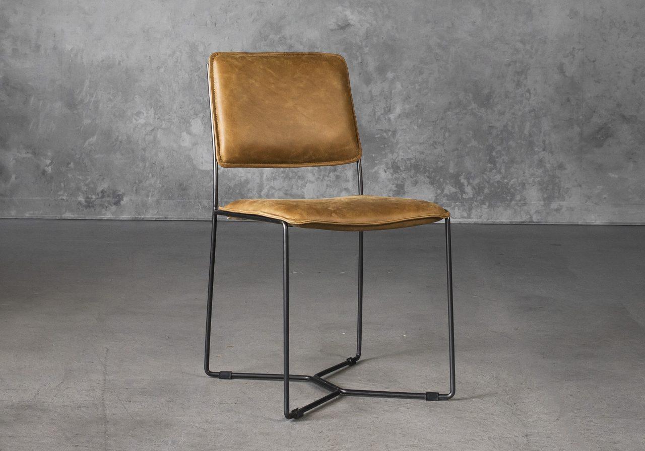 Kian Dining Chair in Tan Leather, Angle