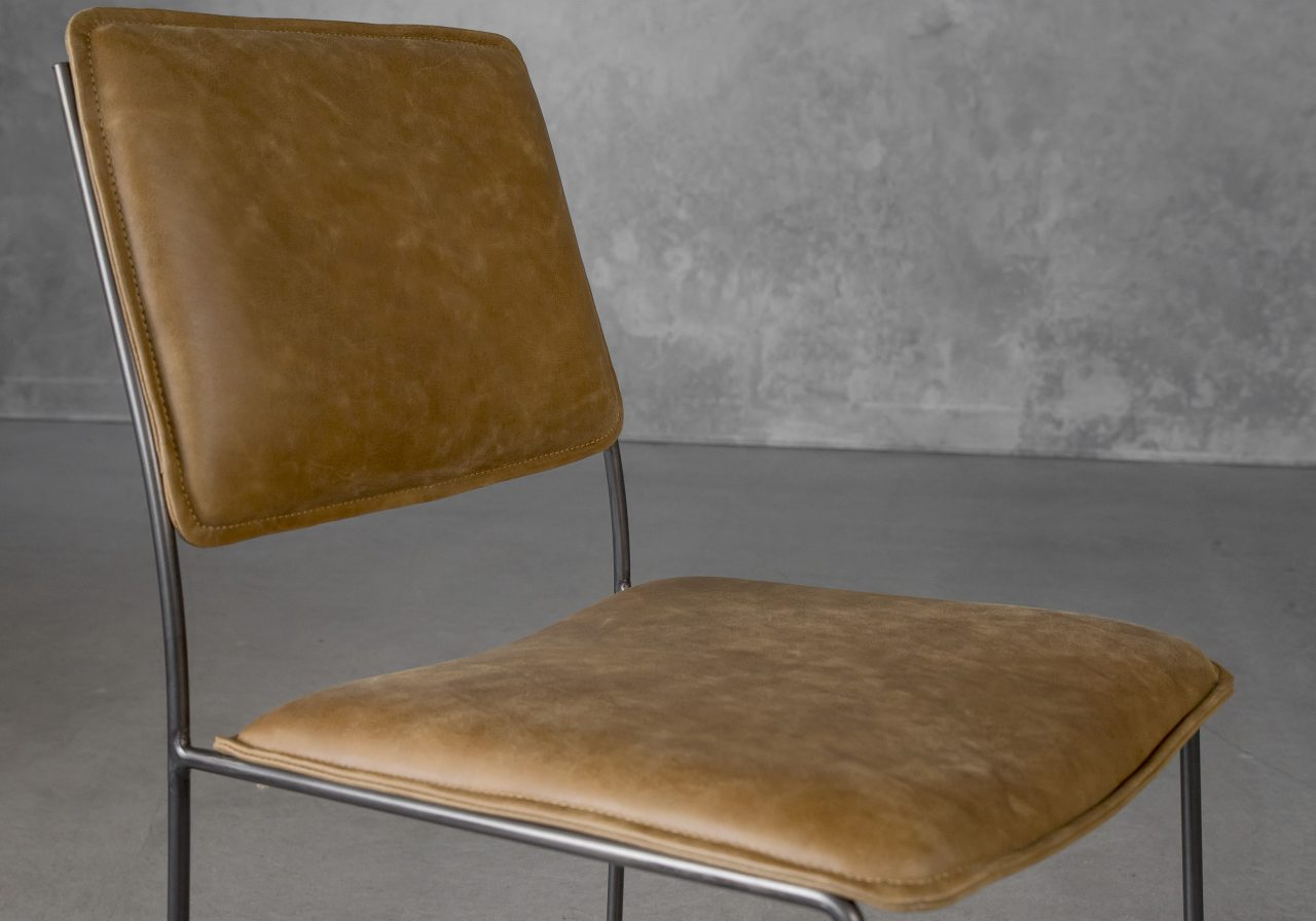 Kian Dining Chair in Tan Leather, Close Up