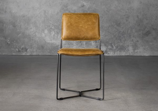 Kian Dining Chair in Tan Leather, Front