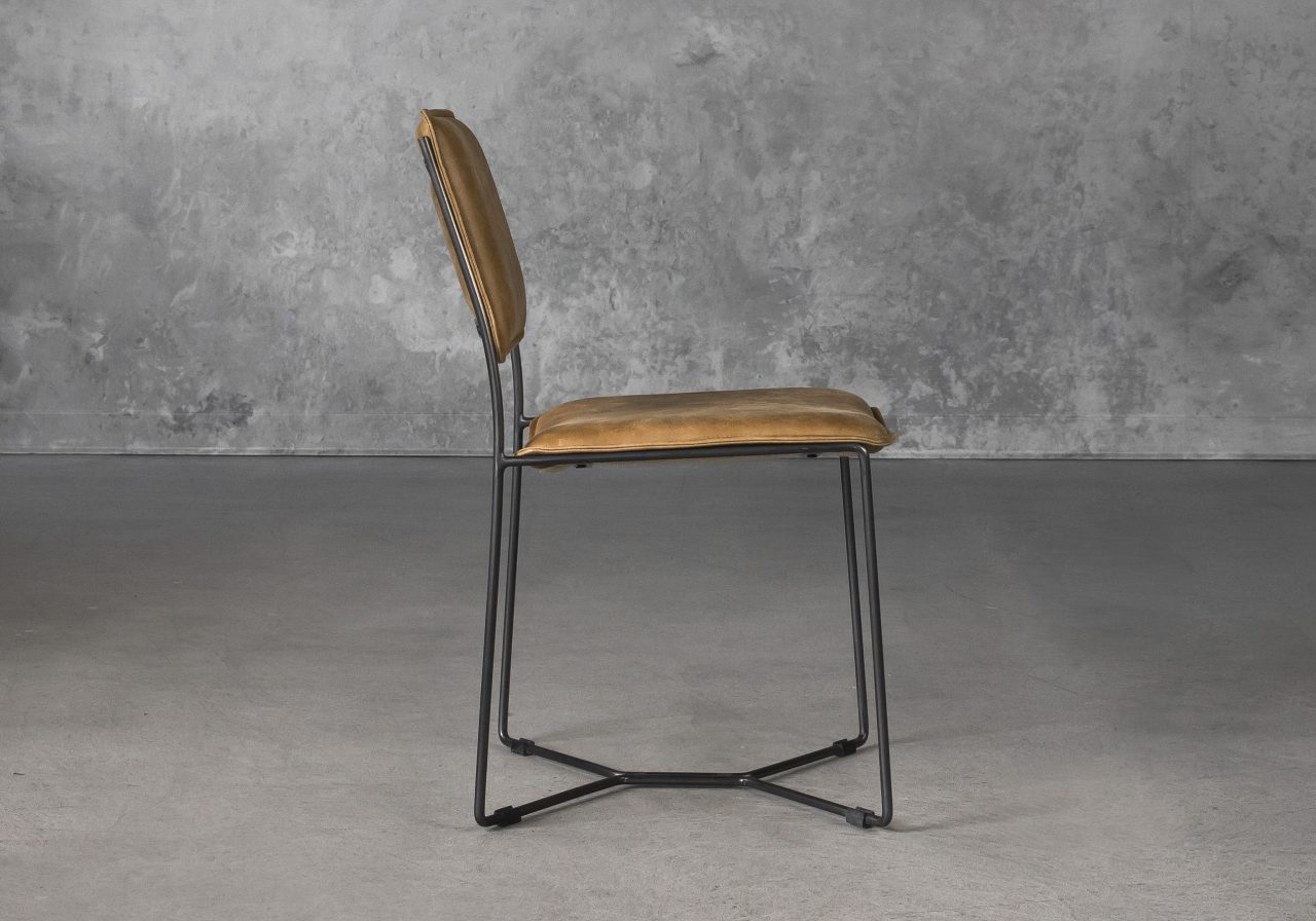 Kian Dining Chair in Tan Leather, Side