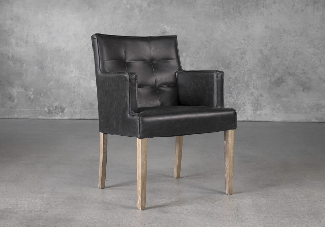 Leaf Dining Chair in Black Vinyl, Angle