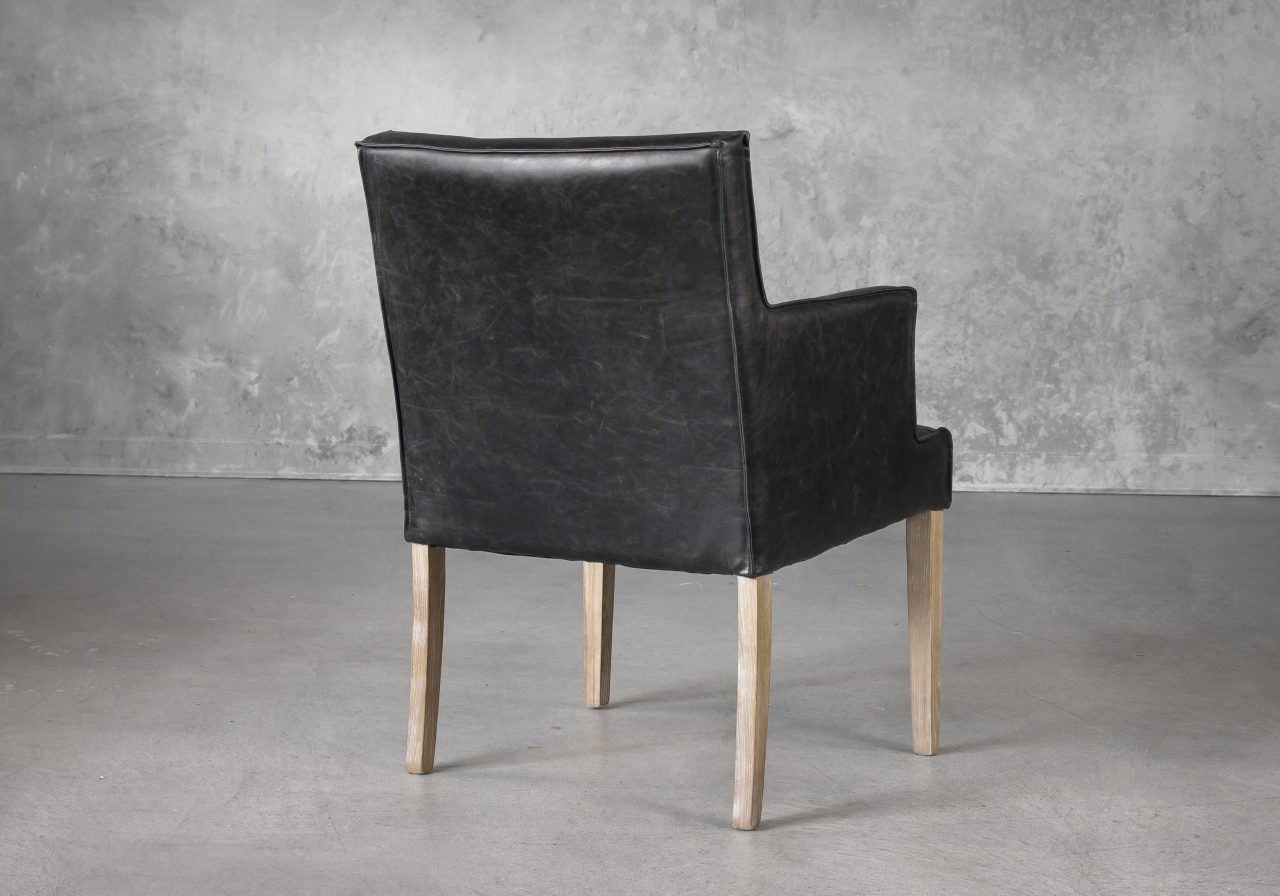 Leaf Dining Chair in Black Vinyl, Back