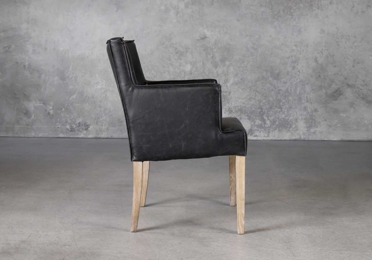 Leaf Dining Chair in Black Vinyl, Side