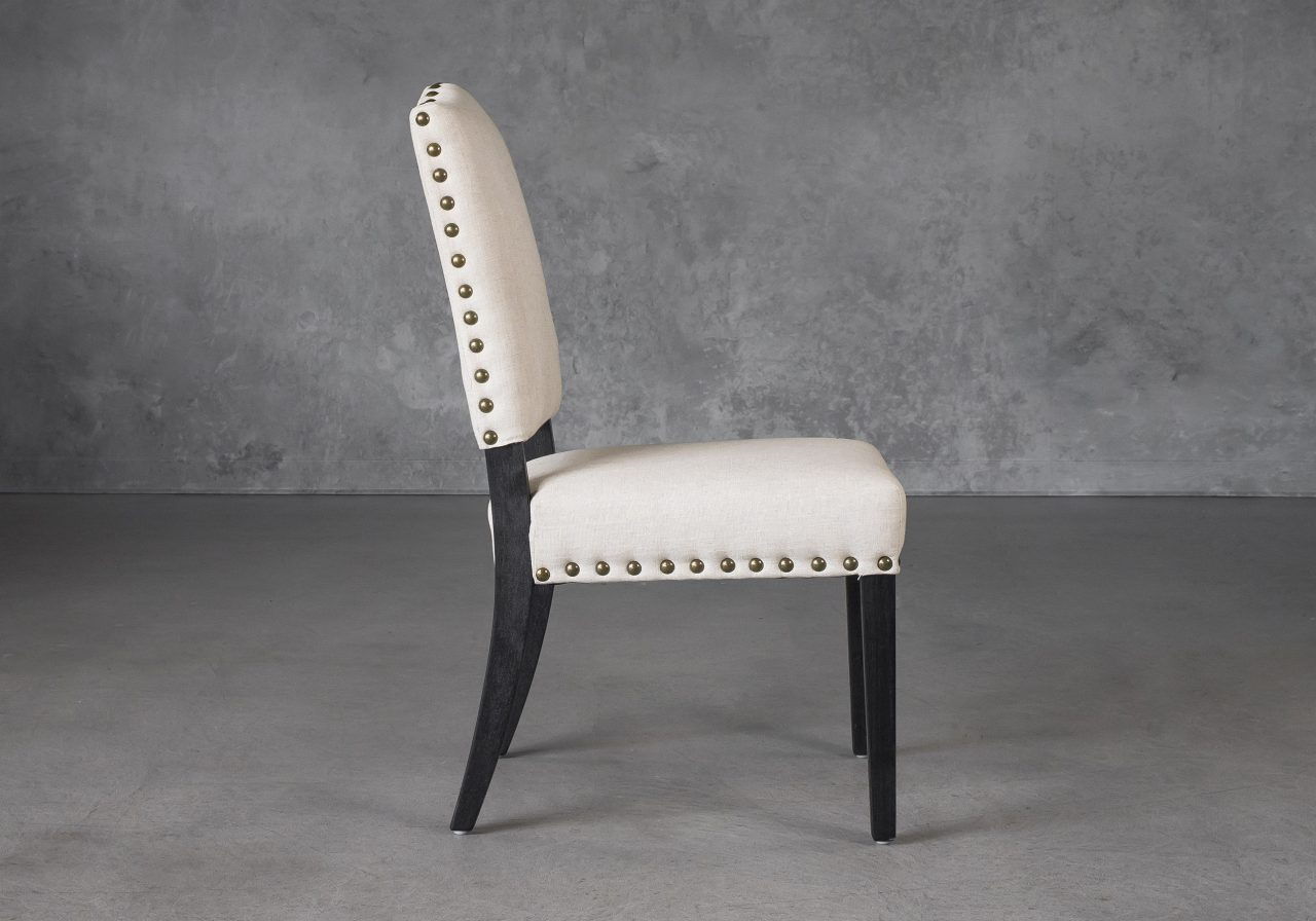 Lisa Dining Chair in Linen (CW018) Fabric, Side