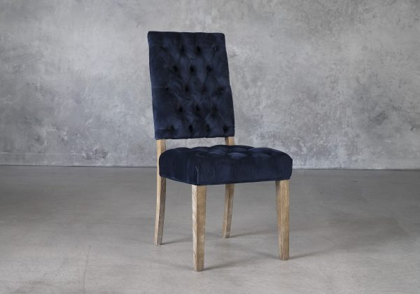 Lorena Dining Chair in Blue Velvet, Angle