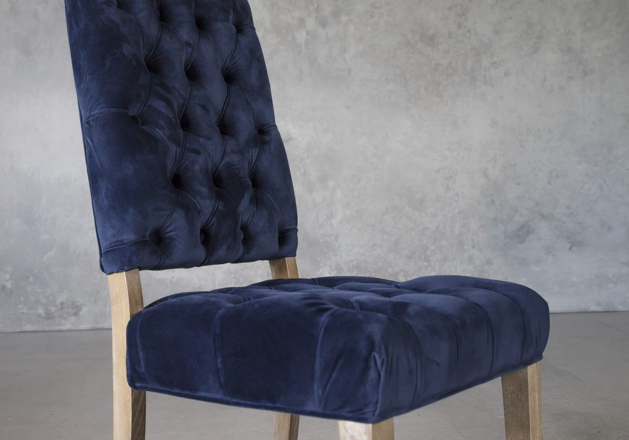 Lorena Dining Chair in Blue Velvet, Close Up