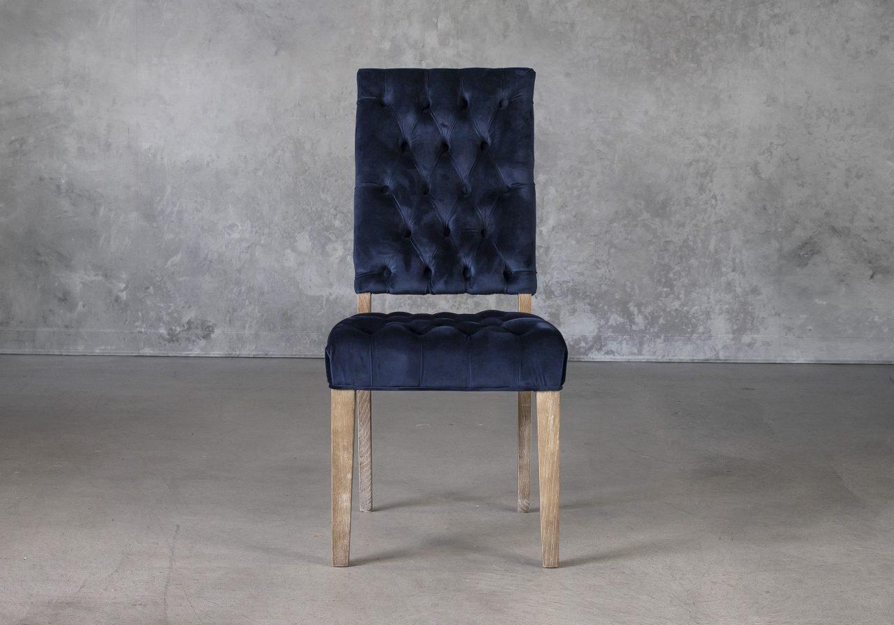 Lorena Dining Chair in Blue Velvet, Front