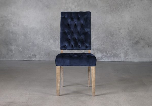 Lorena Dining Chair in Blue Velvet, Front