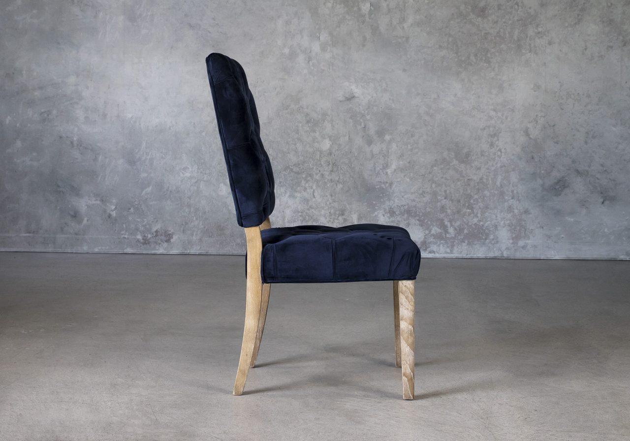 Lorena Dining Chair in Blue Velvet, Side