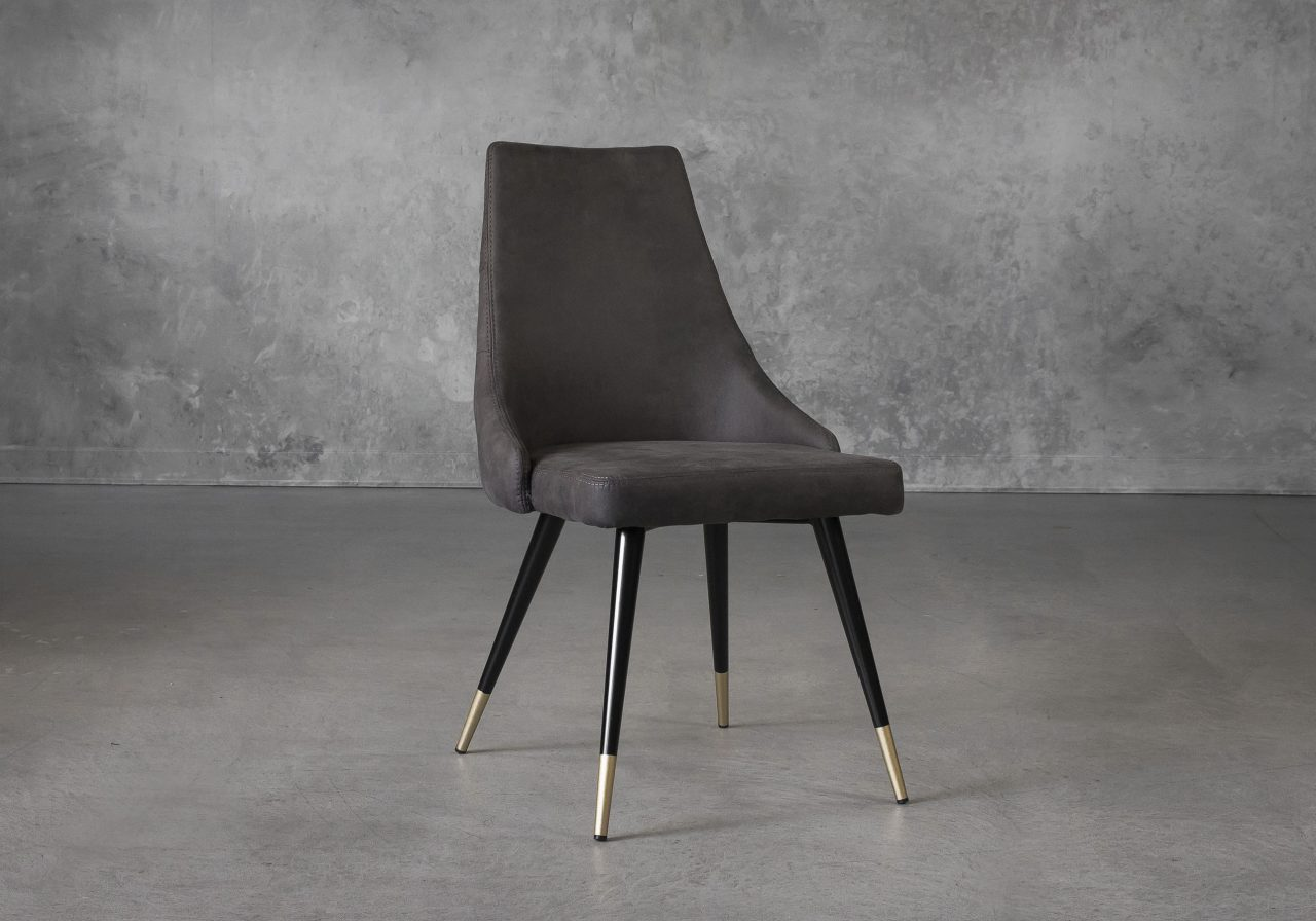 Norman Dining Chair in Charcoal Grey Fabric, Angle