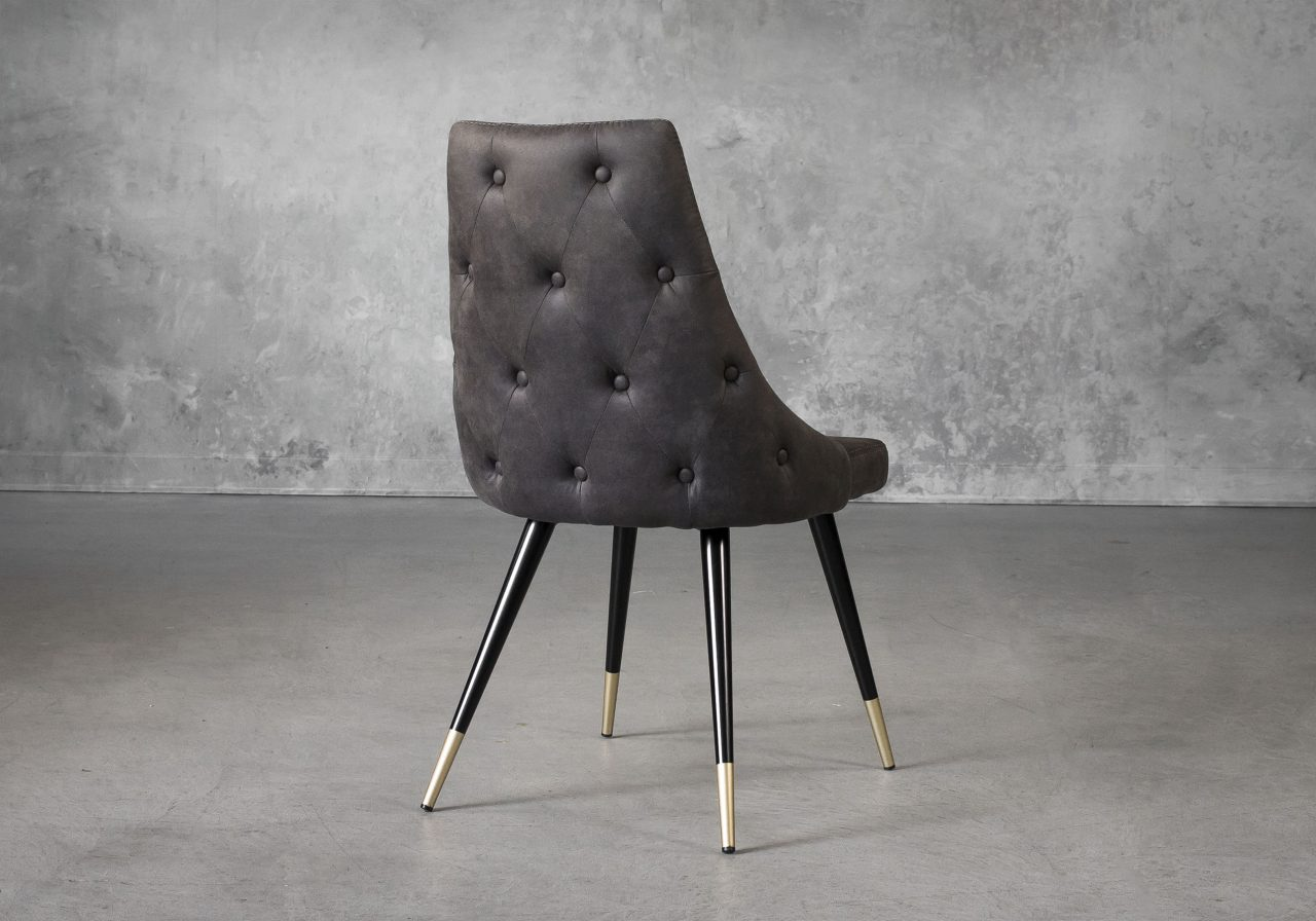 Norman Dining Chair in Charcoal Grey Fabric, Back