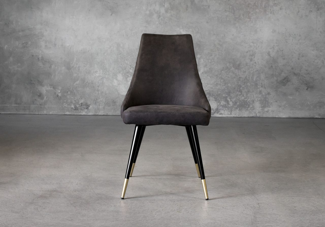 Norman Dining Chair in Charcoal Grey Fabric, Front