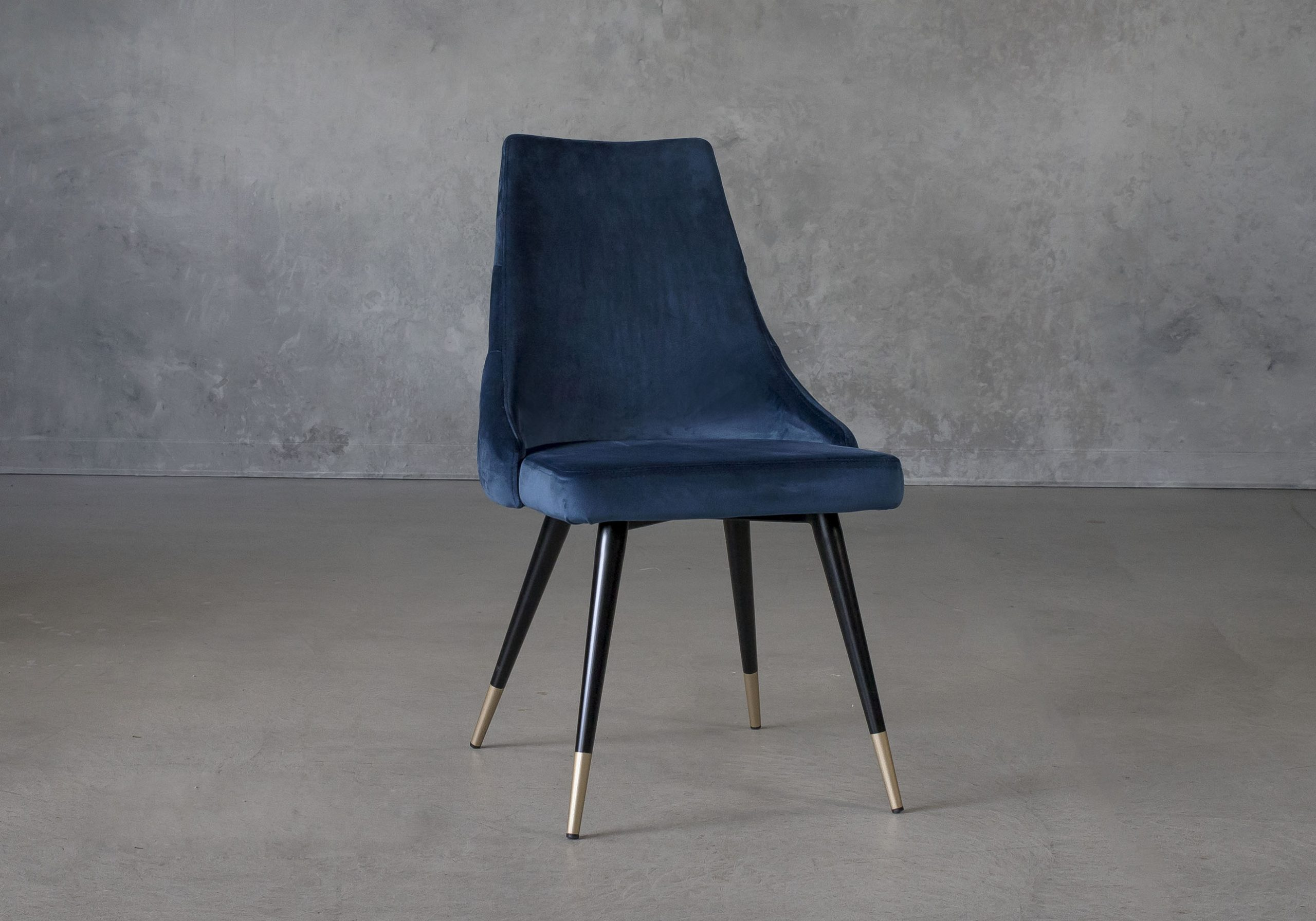 Norman Dining Chair in Navy Fabric, Angle