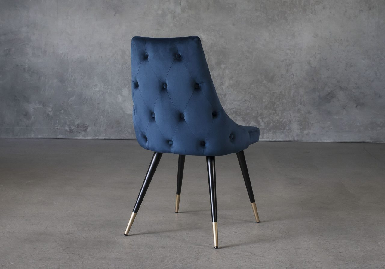 Norman Dining Chair in Navy Fabric, Back