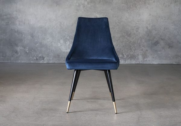 Norman Dining Chair in Navy Fabric, Front