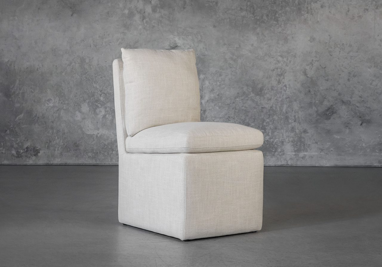 Prague Dining Chair in Linen, Angle