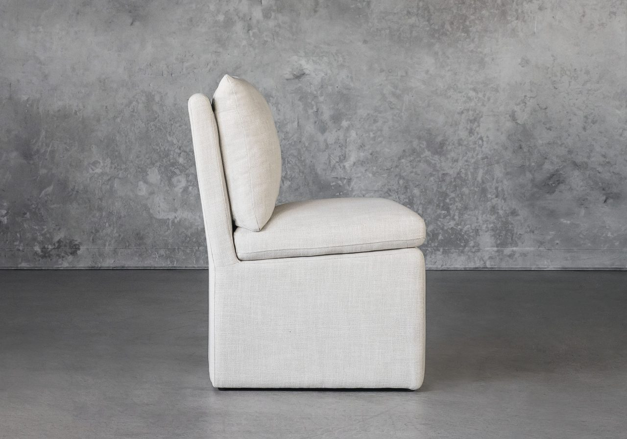 Prague Dining Chair in Linen, Side