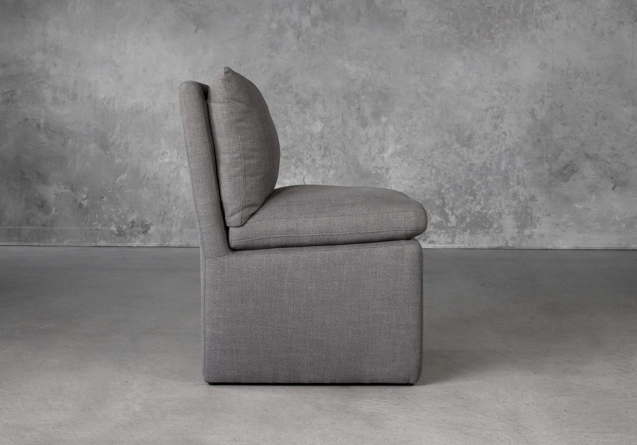 Prague Dining Chair in Smoke (B1222) Fabric, Side