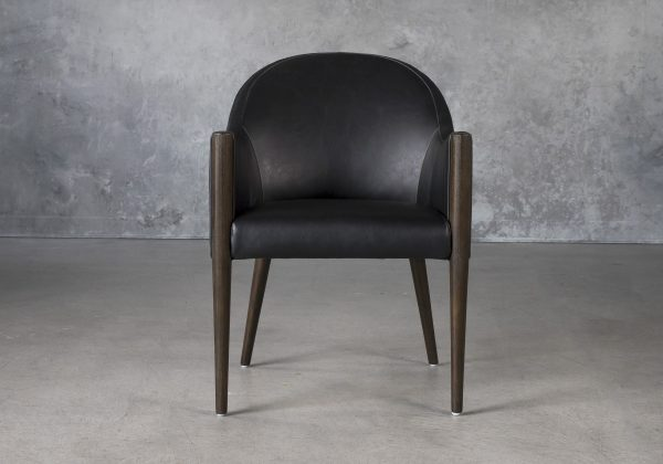 Raymond Dining Chair in Black CU Vinyl with Nutmeg Legs, Front