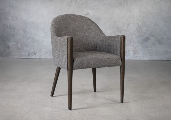 Raymond Dining Chair in Dark Grey (C293) Fabric with Nutmeg Legs, Angle