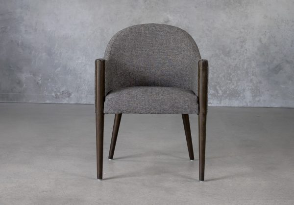Raymond Dining Chair in Dark Grey (C293) Fabric with Nutmeg Legs, Front