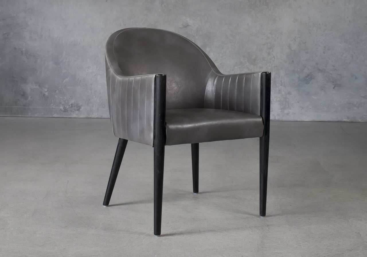 Raymond Dining Chair in Grey (CU627) Vinyl with Distressed Black Legs, Angle