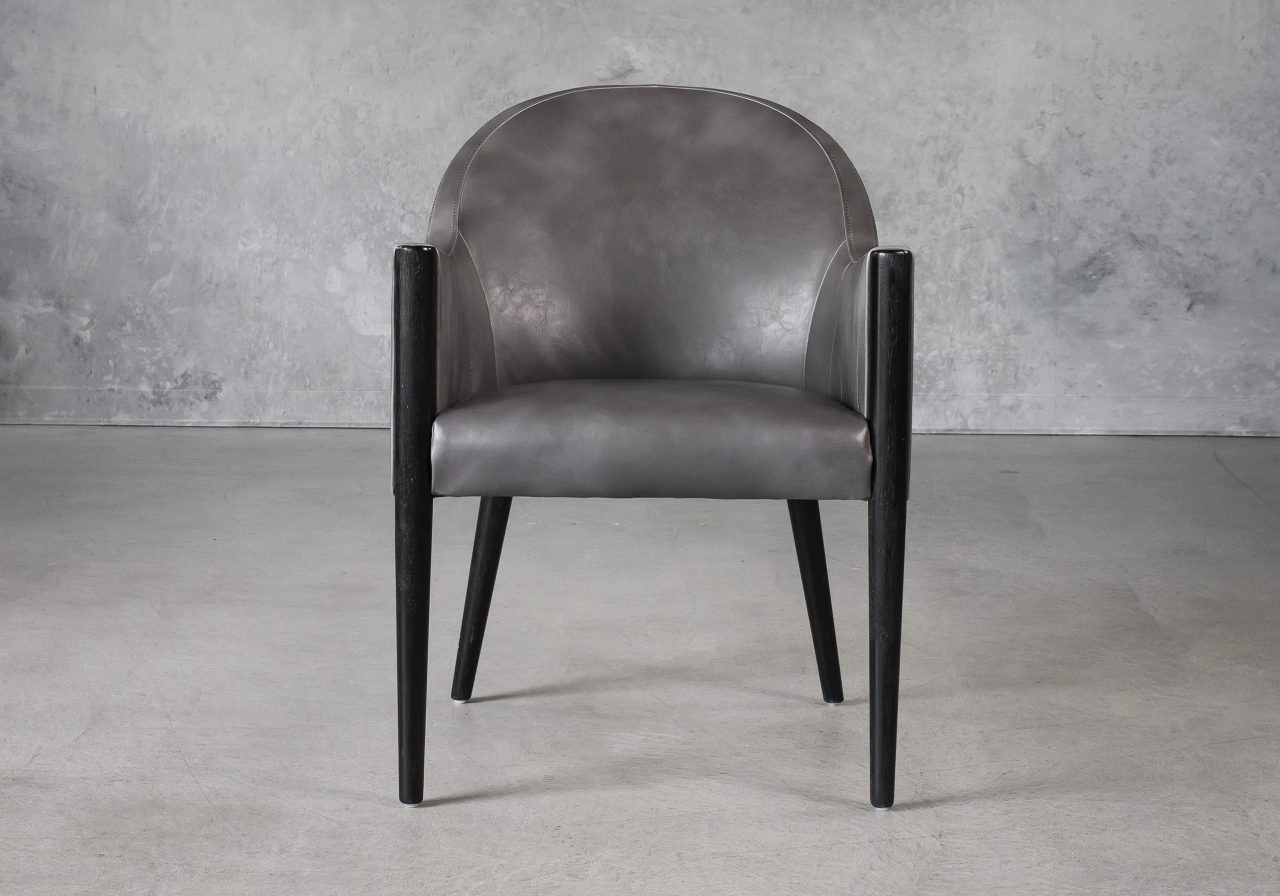 Raymond Dining Chair in Grey (CU627) Vinyl with Distressed Black Legs, Front