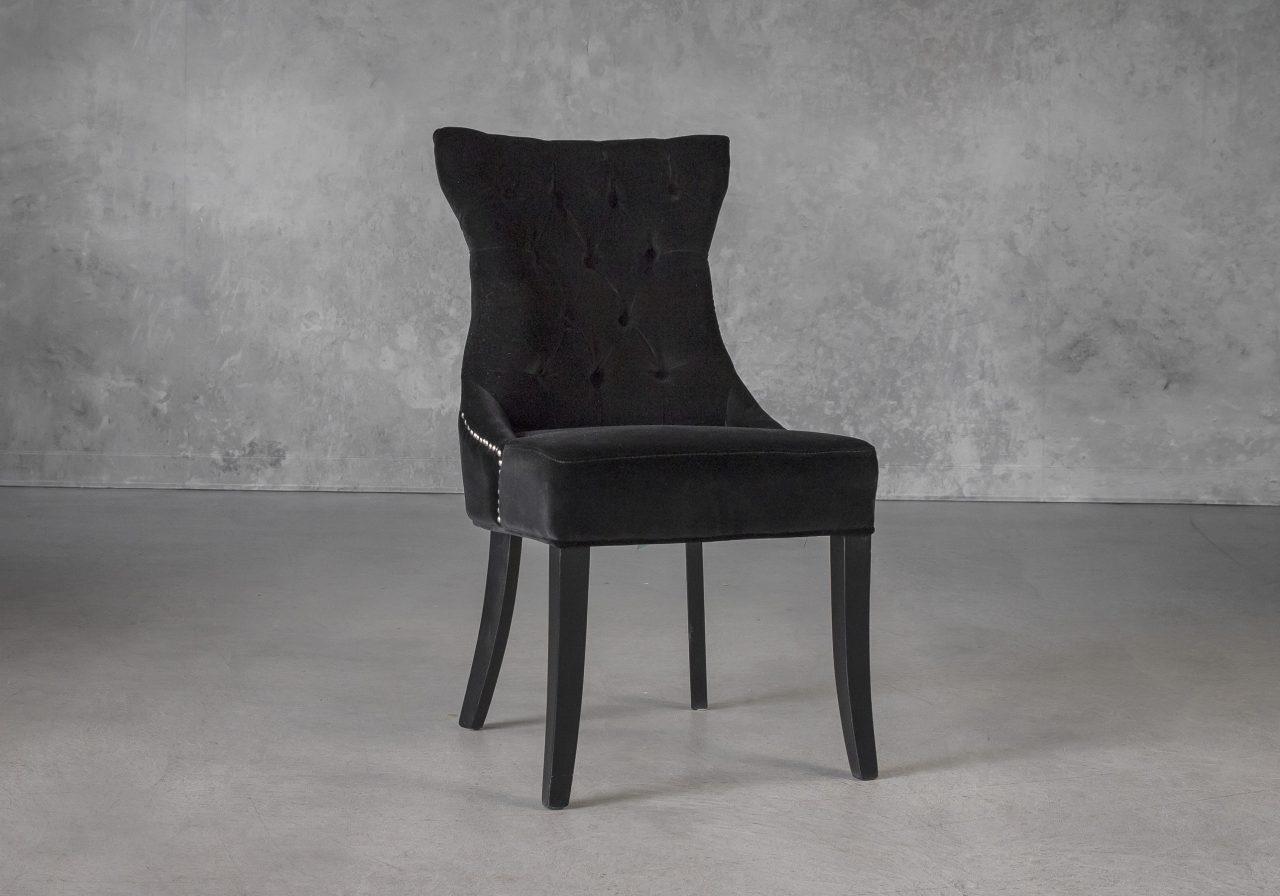 Serra Dining Chair in Black Velvet, Angle