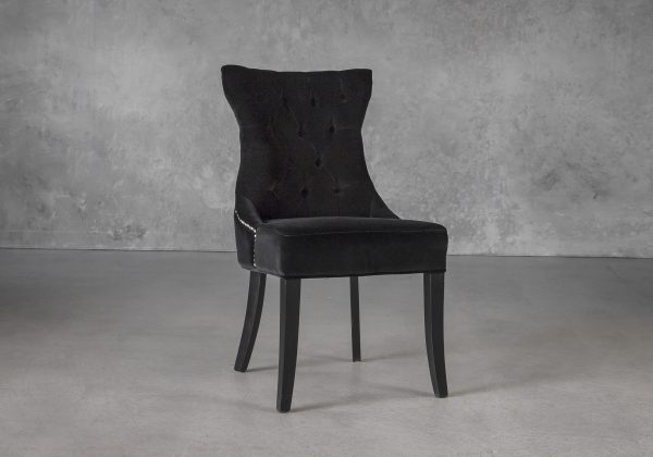 Serra Dining Chair in Black Velvet, Angle