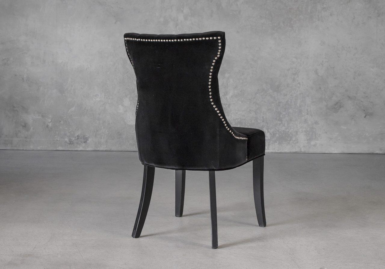 Serra Dining Chair in Black Velvet, Back