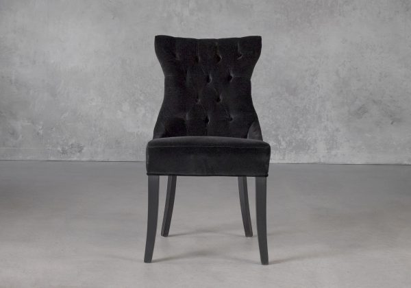 Serra Dining Chair in Black Velvet, Front
