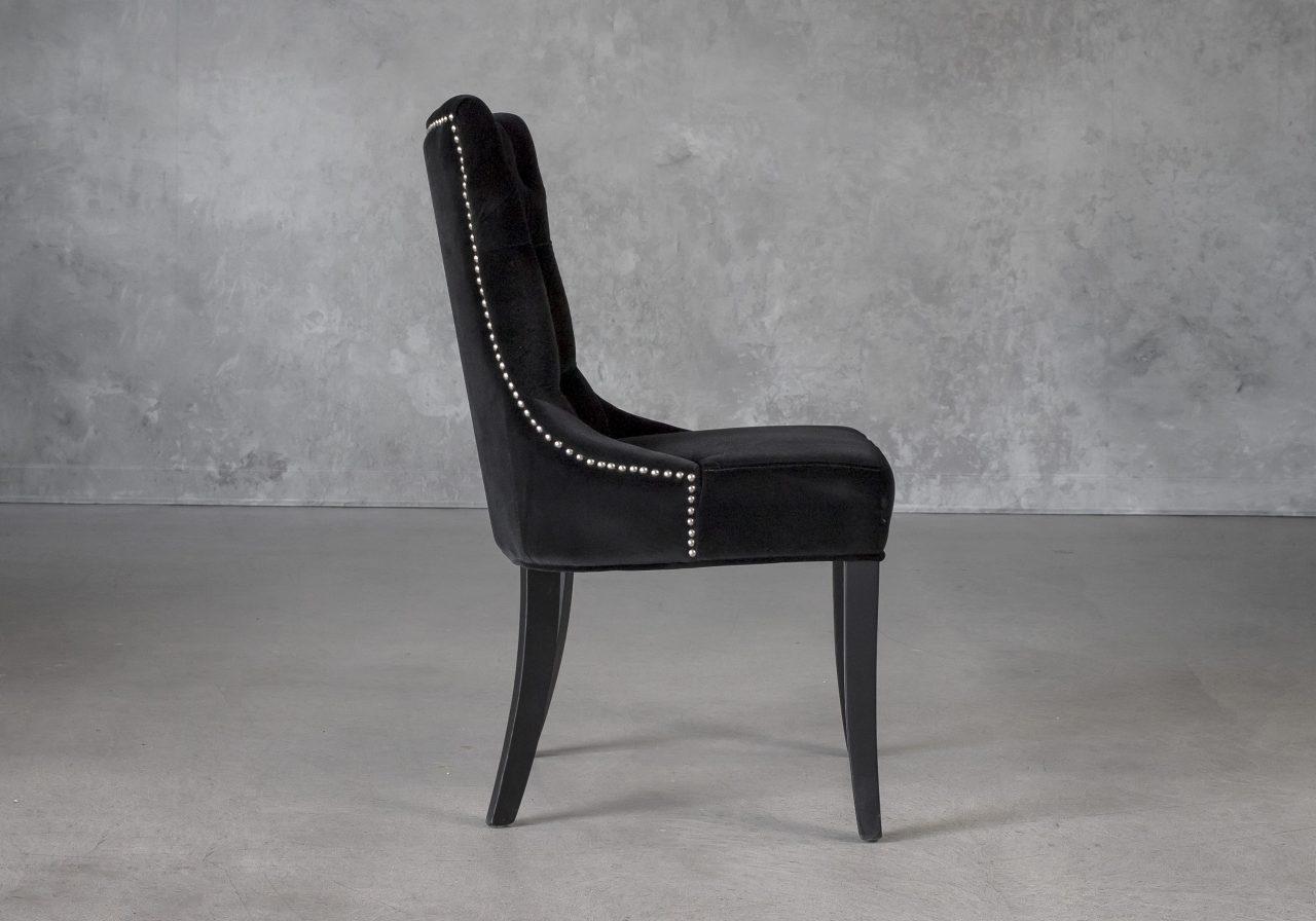 Serra Dining Chair in Black Velvet, Side