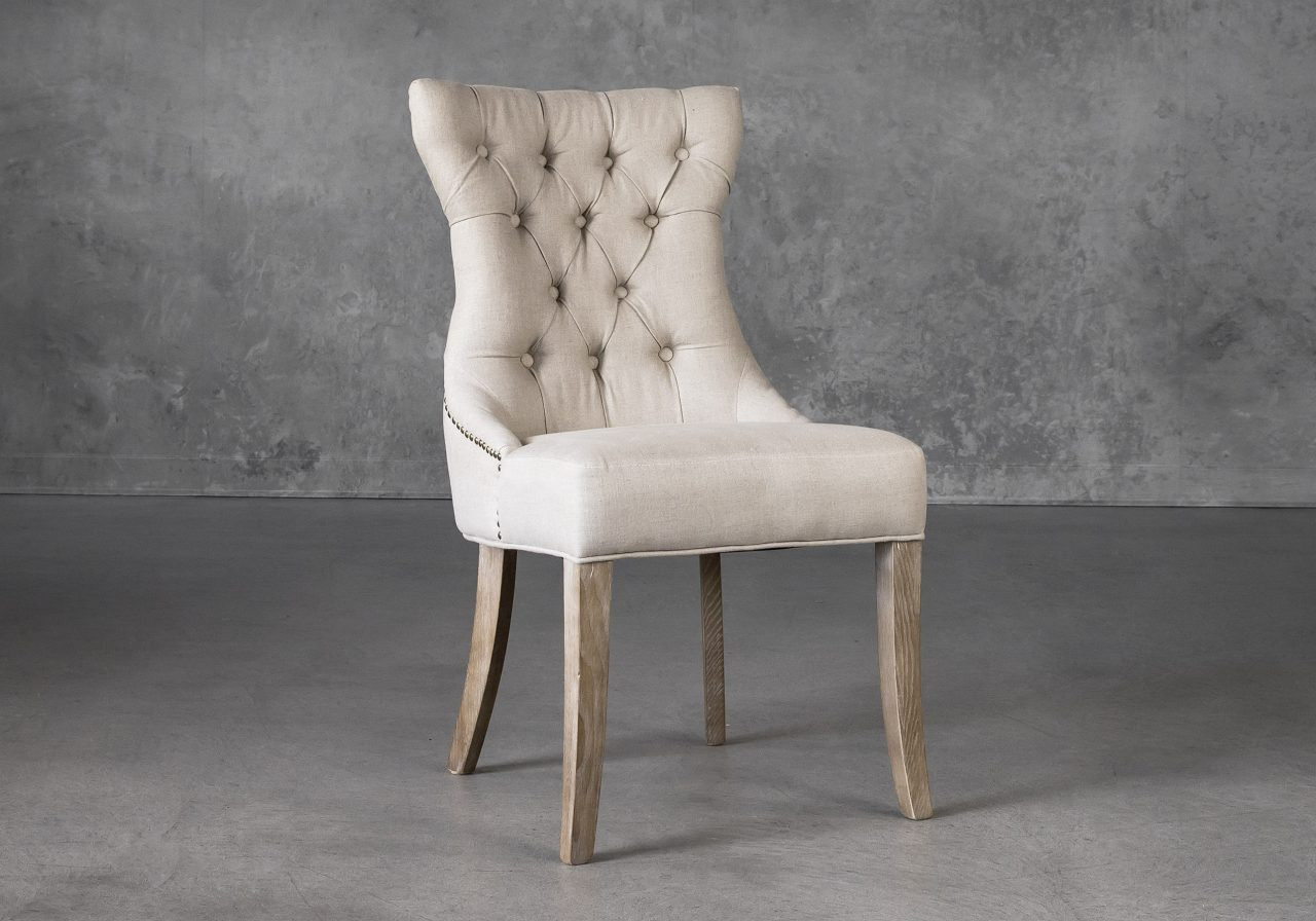 Serra Dining Chair in Cream Fabric, Angle