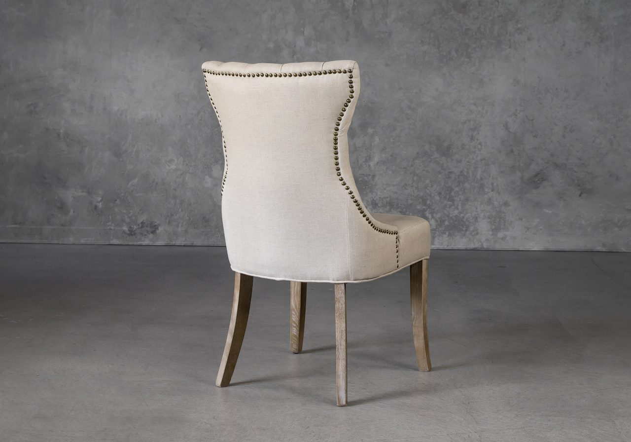 Serra Dining Chair in Cream Fabric, Back
