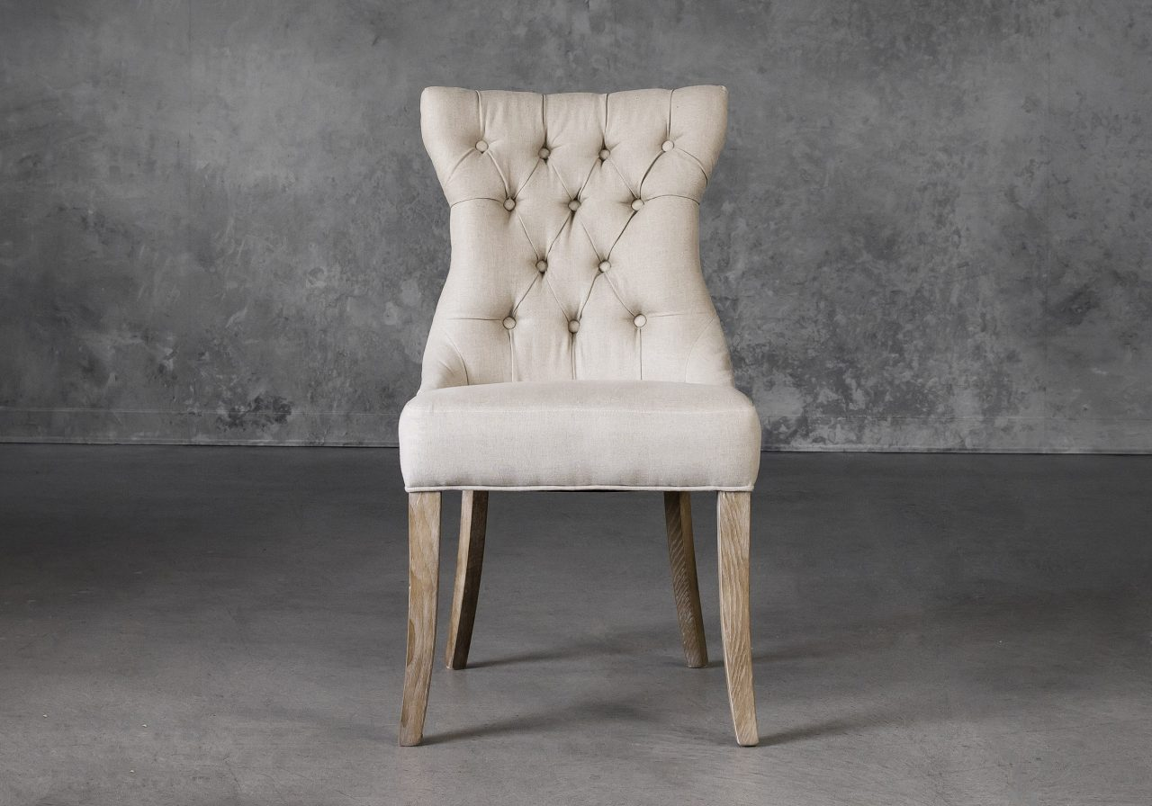 Serra Dining Chair in Cream Fabric, Front