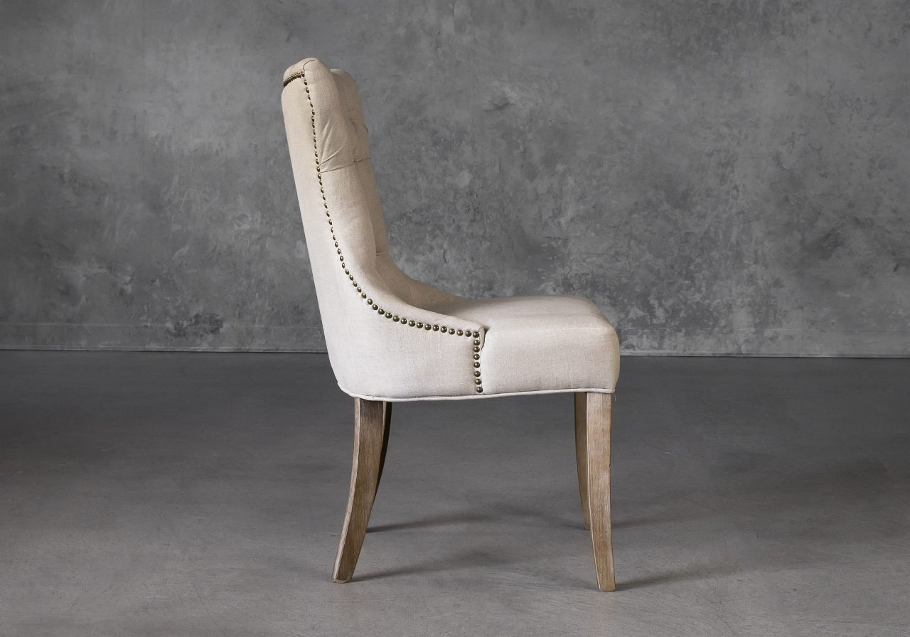 Serra Dining Chair in Cream Fabric, Side