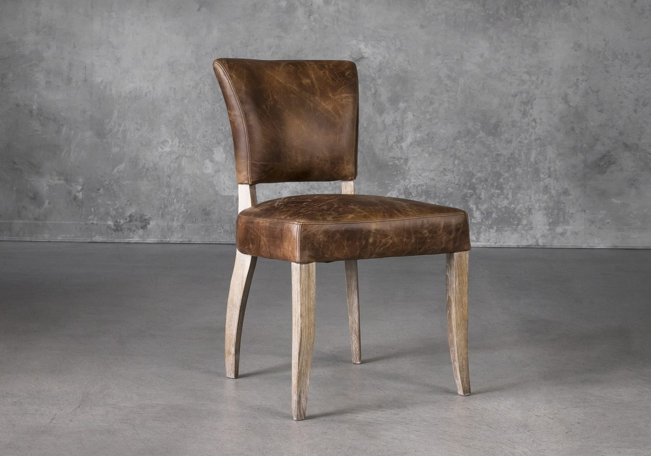 Sio Dining Chair in Brown (P438) Leather, Angle