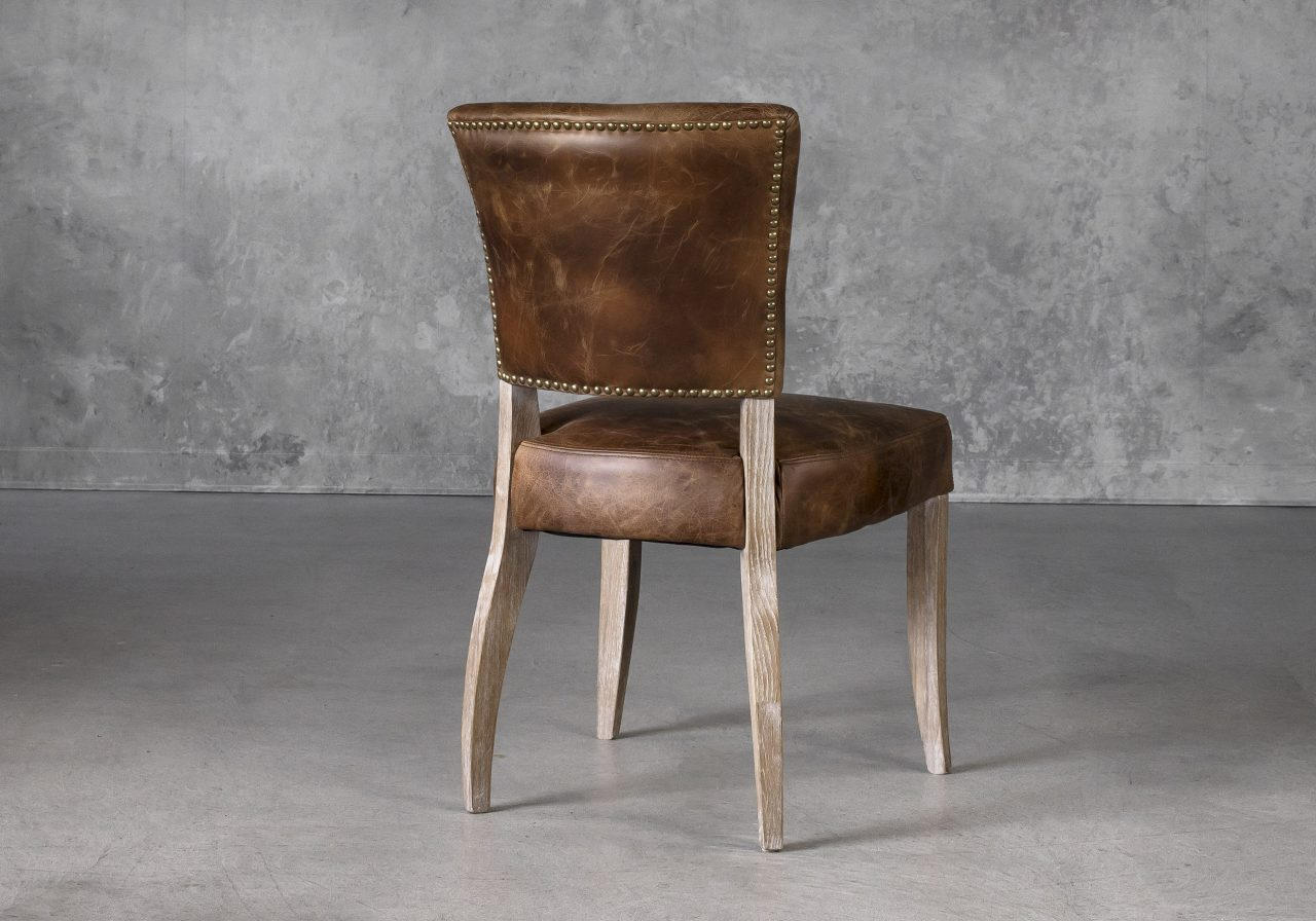 Sio Dining Chair in Brown (P438) Leather, Back