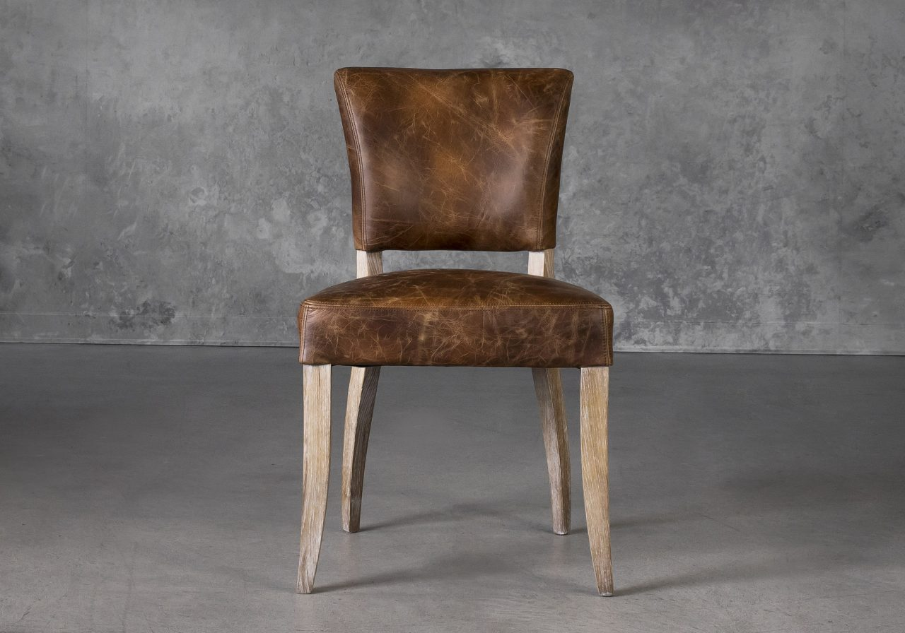 Sio Dining Chair in Brown (P438) Leather, Front