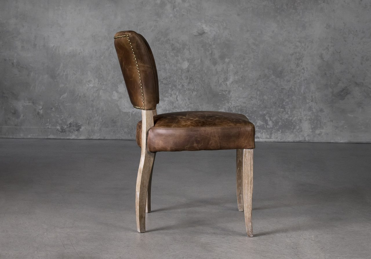 Sio Dining Chair in Brown (P438) Leather, Side
