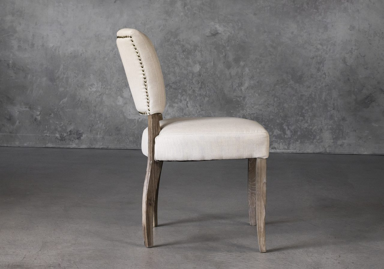 Sio Dining Chair in Cream (P810) Fabric, Side