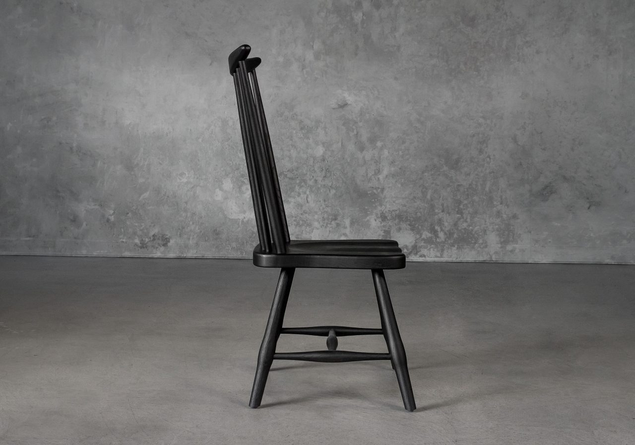 Sofia Dining Chair in Black, Side