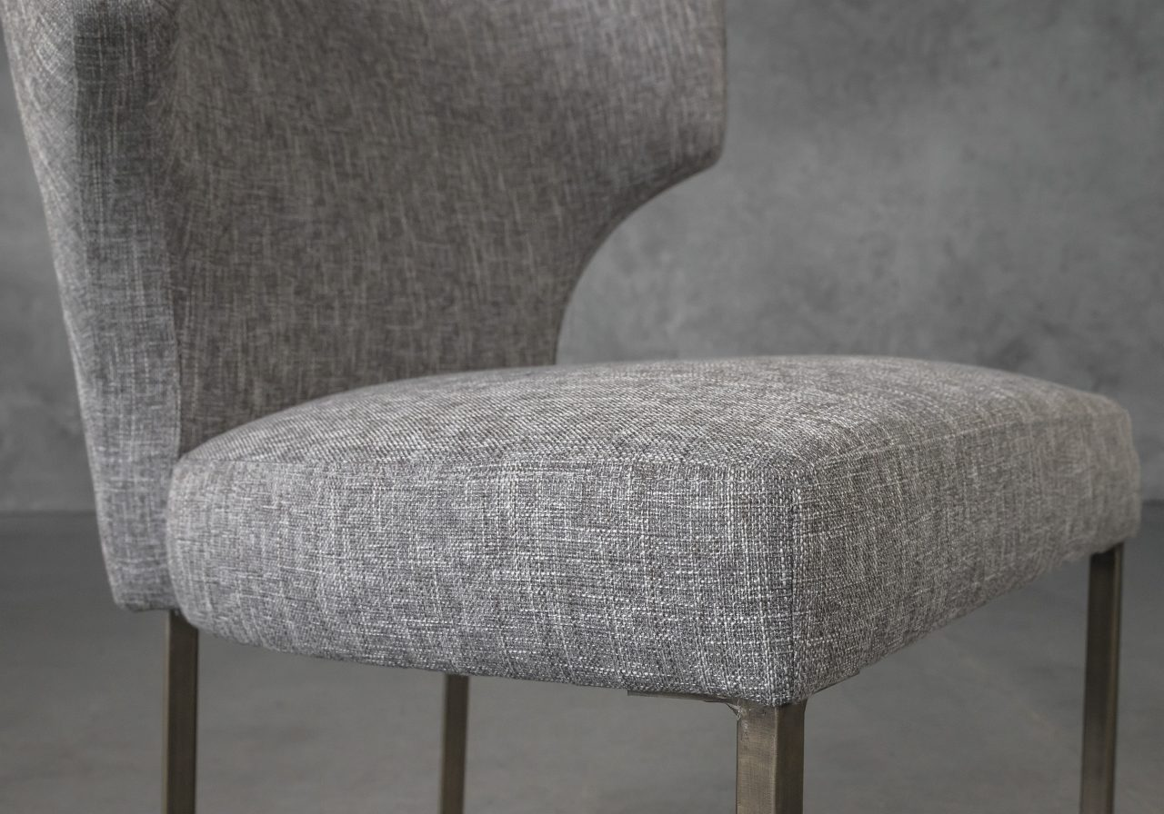 Thelma Dining Chair in Grey (B543) Fabric, Close Up